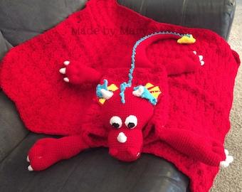 PDF Pattern: Maximus the Dragon Blanket Buddy **Crochet Pattern Only, Not actual blanket**