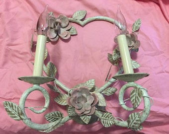 HEART SHAPED LIGHTING Sconce Shabby Chic, Nursery Decor, Sweet Heart Lighting, White and Pink Lighting at Ageless Alchemy