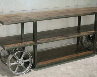 Industrial console table, Trolley Cart/ Media Console / Reclaimed wood TV Stand. Reclaimed wood and steel. Handmade and customizable.
