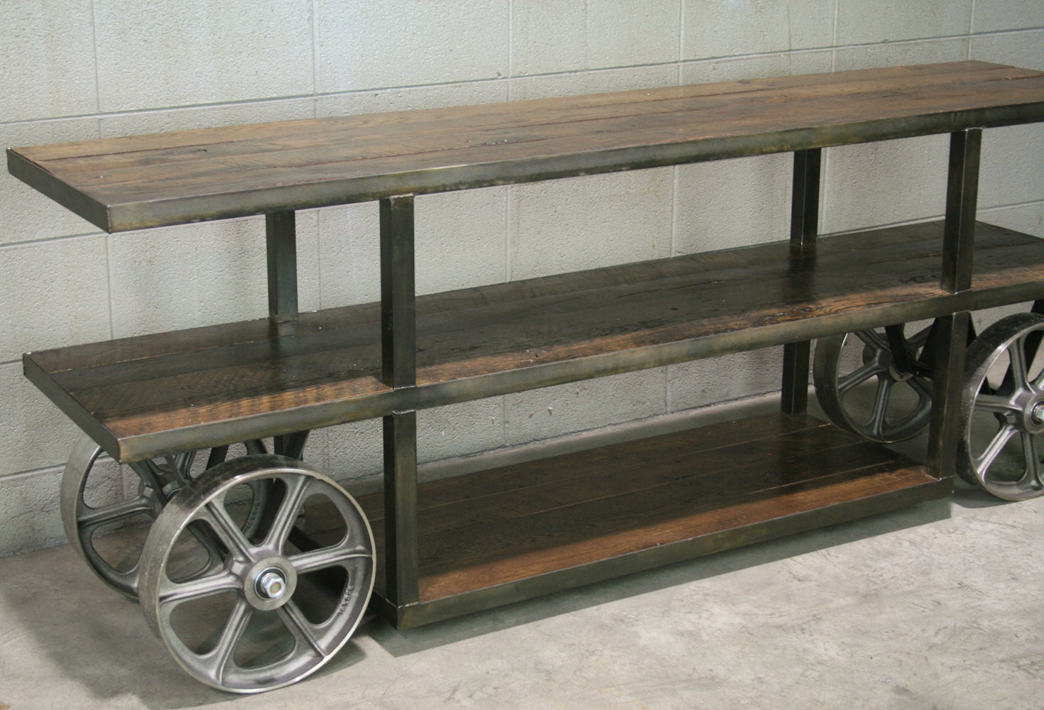 Industrial Console Table Trolley Cart Media Console