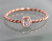 Rose Gold Moissanite Twist 14k SOLID Rose Cut Bezel Skinny Rope Infinity Band Engagement Stacking Ring Diamond Alternative Recycled Gold