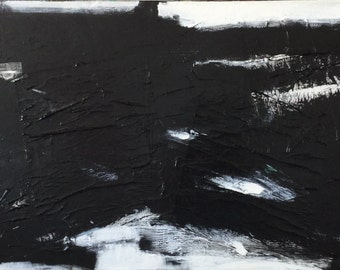"36""x18"" Abstract Black and White Art/Painting"