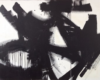 Large Black and White Abstract Art/ Painting Original