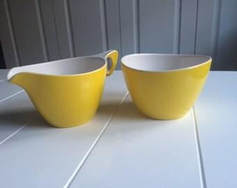 Vintage Melaware Sugar Bowl and Milk Jug in Yellow