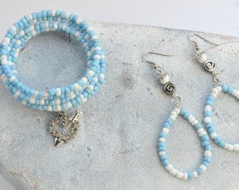 Wrap Bracelet In Baby Blue, Heart Charm Bracelet and Earrings Set, Beaded Jewelry Set, Wraps 5X, Gifts under 25