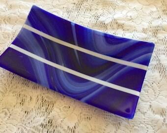 Fused Glass Platter, Cobalt Blue White Art Glass Dish, Glass Serving Tray, Home Decor