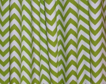 "Summer Sale CUSTOM CURTAINS - A pair of Custom Drapery Zigzag Chartreuse Green and white Background  50"" wide X up to 108"" Long"