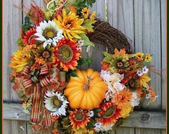 Bright Autumn Sunflower Welcome Wreath, Large Fall Wreath, orange, Yellow, Olive, Moss green, Pumpkin, Rustic