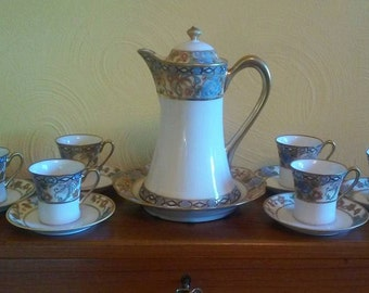 15 Pc Nippon Chocolate Pot Set w/custom Trivet and 6 Cups & Saucers – delicate floral and geometric design embellished with gold moriage