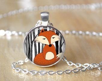 Fox Necklace - Fox Jewelry - Fox Pendant L49