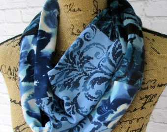 Floral Scarf - Blue Scarf - Infinity Scarf - Handmade Scarf - Cotton Scarf - Circle Scarf - Tee Shirt - Ladies Scarf - Upcycled Clothing