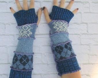Blue Fingerless Gloves - Winter Gloves - Best Sellers - Driving Gloves - Warm Gloves - Winter Clothing - Gypsy Clothing - Christmas Gift