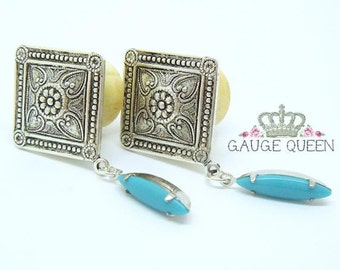 "Silver & Turquoise Navette Dangle Plugs / Gauges. 4g /5mm, 2g /6.5mm, 0g /8mm, 00g /10mm, 1/2"" /12mm, 9/16"" /14mm, 5/8"" /16mm by Gauge Queen"