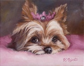 Yorkie Princess, Yorkshire Terrier, pink pillow PRINT enchanted animals, by Viktoria Majestic on Etsy
