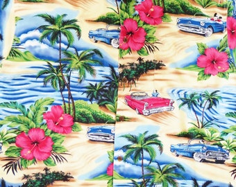 Vintage Big Dogs Rayon Hawaiian Shirt, Dogs Driving Classic Cars, Beach Scenes Hibiscus Print, Vintage 80s 90s Retro Aloha Shirt, Size Large