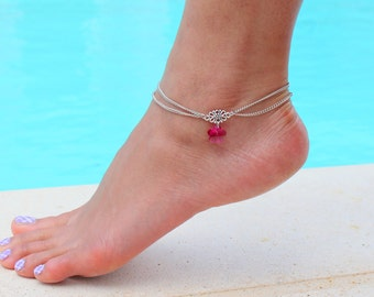 Double Chain Anklet with Swarovski Crystal Flower Pendant in Pink Fuchsia / October Birthstone