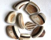cream brown white beach pottery terracotta sea Scottish china jewelry genuine vintage beach supplies art&craft mosaic  supply (315)