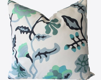 Decorative Designer Alan Campbell Suncloth, Floral Outdoor, Blue, Turquoise, 18x18, 20x20, 22x22 Throw Pillow
