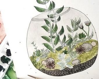 Secret Garden Succulent Terrarium Art