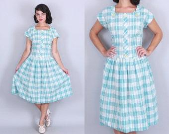 1950s AQUA GINGHAM Dress | Vintage 50s Blue & White Drop Waist Cotton DAY Dress | l/xl
