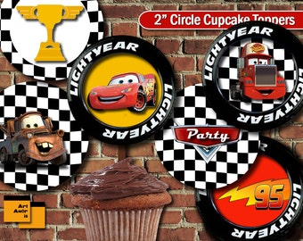 Cars theme Party Cupcake Topper, Birthday Party Cupcake Topper, Cars Printable, Party Printable Party Decoration lightning mcqueen car TFP-5