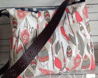 Aztec Feather Hobo w/ Genuine Leather Strap & Pockets