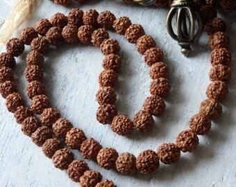 108 Rudraksha beads for mala - 10mm natural rudraksha beads from Nepal, prayer beads, Buddhist jewelry supplies, mala beads, yoga jewelry