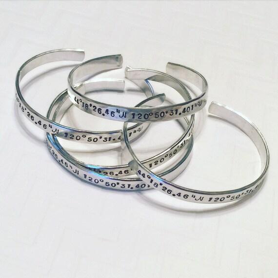 wedding coordinates bracelet gps thin silver bangle bracelet