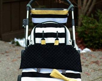 custom Stroller /pram Sets-1 stroller blanket, 1 reversible stroller liner, shoulder strap pads