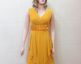 Gold Bridesmaid Dress. Evening Dress.