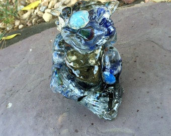 Orgone Dragon, Baby Gargoyle, All Blue Stones, Blue Moon, Approx 1 lb 12 ounces, Magickal!