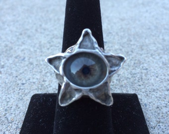 Vintage Evil Eye Ring, Bold Sterling Silver Pentagram Design, Size 8 American, 15 grams, Artisan Made, (1960s) Mesmerizing and Rare, Mint