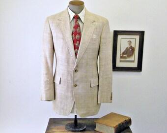 1970s Mens Linen Suit Jacket Vintage Mens Cream Color Textured Linen Blend Blazer / Sport Coat - Size 40 (MEDIUM)