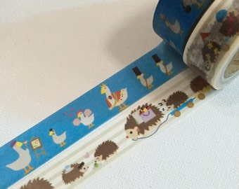 2 Rolls of Japanese Washi Tape- Tea Party with Ducks and Hedgehog