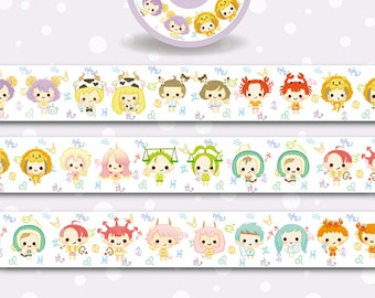 1 Roll of Limited Edition Washi Tape-  12 Zodiac Signs Babies