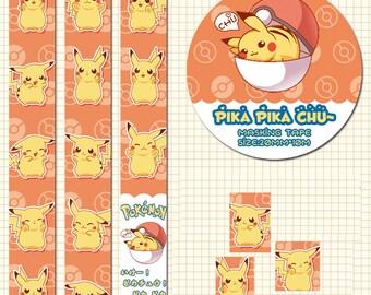 1 Roll of Japanese Anime Limited Edition Washi Tape: Pika Pika Pikachu