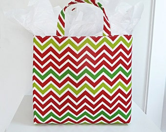 SALE - Holiday Gift Basket, Tote Bag, Fabric Tote, Chevron Storage Tote, Christmas Gift Basket, 4 Pattern Options