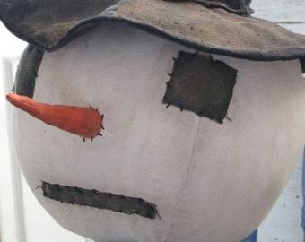 """Primitive Folk Art~ Arthur 38"""" tall Huge Winter Snowman Doll~HAFAIR"""