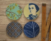 4 Extra Large Fabric Buttons - Size 75 ( 1 7/8inch- 45mm) - Covered buttons - Blue buttons - Sewing buttons-