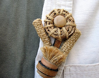 Brooch in eco-style  made out of natural materials