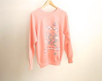 PINK vintage IKAT 90s SOUTHWEST spring fleece Sweatshirt
