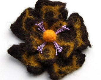 Felted flower brooch, wet felted wool flower, felted jewelry, clothing decoration, natural, black, yellow and lila, gifts for her, jewellery