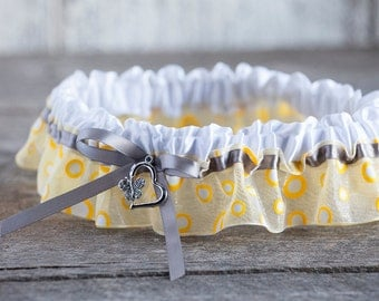 Bridal  yellow polka dot garter/Wedding yellow polka dot garter/Prom yellow garter/Boudoir yellow garter/Retro yellow garter/Heart garter/
