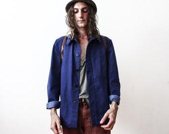 Vintage 1980s WorkJacket WorkWear Workers Jacket Bleu De Travail Denim Jacket Summer Clothing