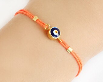 Evil eye bracelet, turkish evil eye, neon orange paracord, istanbul turkish jewelry, ethnic, arabic, best friend birthday gift