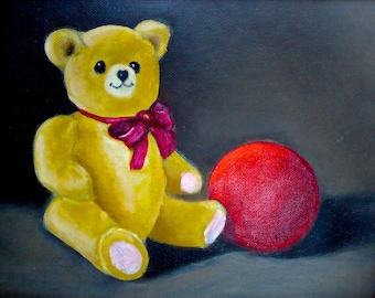 Oil Painting Teddy Bear and Red Ball Children's Room Decor Hand Painted Original not a print
