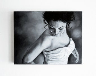 "Custom Oil Painting Portrait Wedding Gift Black and White Painting from Photo 12"" x 16"""