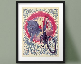 Red Riding Hood Art Print Bicycle Cycling Illustration Art Nouveau Design