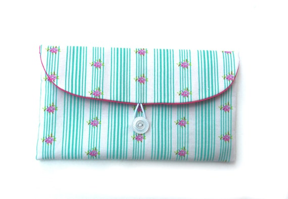 Vintage Style Off White Clutch With Bluegreen Stripes & Fushia Flowers - Bridesmaid Clutch - Makeup Bag - Clutch With Button -  Gift for Her