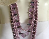 Long Multi Strand Statement Necklace, Amethyst, Lilac Pearls, Purple Pearls, Sterling Silver